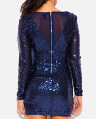 shopdaviderick-WOMENS-NAVY-BLUE-SEQUINED-MESH-LONG-SLEEVE-FORMAL-EVENING-SEXY-MINI-DRESS